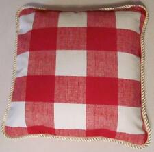 Provence French Country Cottage Pillow Cushion Plaid Check Red White Buffalo