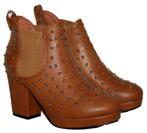 Ladies Tan Pull On Low Heel Ankle Boot with Stud Trim In Size 3