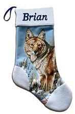 Coyote Wildlife Nature Christmas Holiday Personalized Stocking Mark Mansanarez