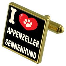 I Love My Dog Gold-Tone Cufflinks - Appenzeller Sennenhund