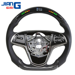 Real LED Black Carbon Fiber Steering Wheel Fit For Cadillac ATS-L ATS-V