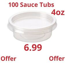 100 PLASTIC CONTAINERS & LID 4oz Clear SAUCE TUB FAST FOOD DISPOSABLE