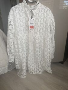 Zara Textured Weave Dress White Size Xs BNWT