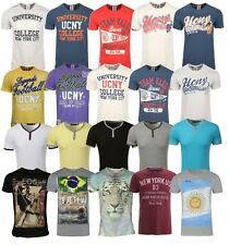 Mens T-Shirt Button Up Crew Neck Casual Comfy Fitted Summer Top Sizes XS - 2XL
