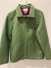 Quacker Factory Silk Jacket Quilted Flip Cuff  Sz S Sparkle & Shine Zip Front