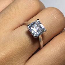 2 Ct Asscher Cut Diamond Solitaire Engagement Fine Ring 14K White Gold Over