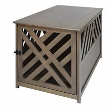 Modern Lattice Wooden Pet Crate End Table