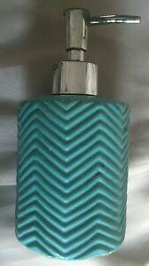 SEA BLUE CERAMIC SOAP DISPENSER ZIGZAG DESIGN NEEDS CLEANING/PUMP WORN 10cm HIGH
