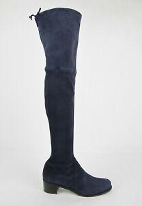 $798 Stuart Weitzman Women's Midland Nice Blue Stretch Suede Knee High Boot