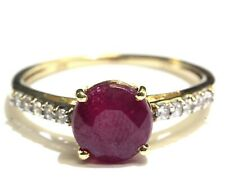 10k yellow gold Natural red ruby gemstone cubic zirconia cz ring 2.4g estate