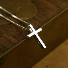"925 Sterling Silver Small Plain Cross Pendant Necklace Box Chain 16""-17"" A2244-S"