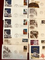 First Day Of Issue Covers. Space,  Rockets. Unaddressed  Apollo 8, 11 Skylab