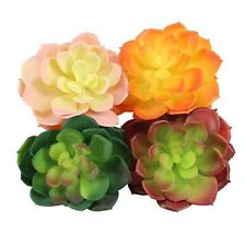 "4 Pk Multicolor Single Artificial Succulent Flowers, Lotus Flowers 4"" Diameter"