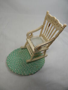 Dollhouse Miniature 1:12 Scale Rocker Rocking Unpainted Chair With Rug #Z212-M
