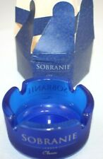 Vintage Sobranie London Blue Frosted Glass Ashtray New in Box Free Shipping
