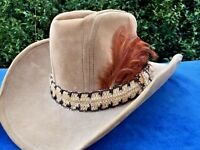 Vintage Antique FEATHER BAND USA Made Mens Western Cowboy Hat Sz 6 7/8 to 7 ❤️