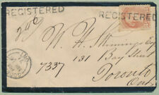 1871 Registered Mourning Cover, Goderich Ont to Toronto, 3c Sm Queen Rose Shade