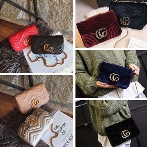 Velvet Flap Bag Women Handbag Cross body Quilted PU Leather Zigzag Chain Medium