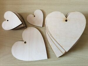 Wooden Wood Heart Shape Tag Wood Craft Blanks Ply & MDF Bunting 3mm thick