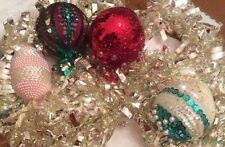 Vintage Beaded Sequined Beribboned Christmas Tree Ornaments 4 Pieces Handmade #B