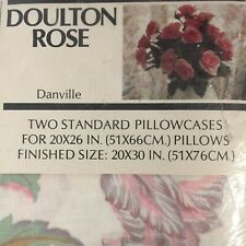Danville NOS Doulton Rose Muslin Double Fitted Sheet 54 X 75  Floral Shabby Chic