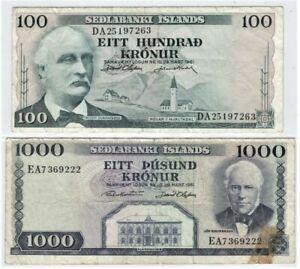 Iceland Republic, 100+1000 Kronur 1961 (VF) #1870