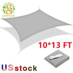 10*13FT Sun Shade Sail Canopy Rectangle Sand Uv Block Sunshade Outdoor Gray US
