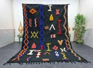 "Moroccan Handmade Kilim Zanafi Rug 6'2""x9'2"" Berber Abstract Black Red Wool Rug"