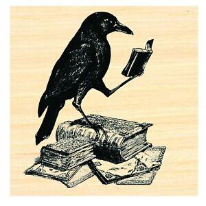 P51 Reading Crow Black Raven Rubber Stamp