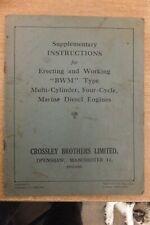 crossley BWM marine diesel engines supplementary instruction book vintage