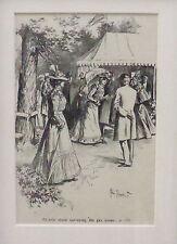 ORIGINAL ANTIQUE BLACK AND WHITE MOUNTED PRINT,ILLUSTRATING MORAL STORY PUB 1899