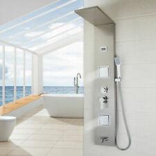 Brushed Nickel Stainless Steel Shower Panel Digital Display 4 Way Shower Tap Set