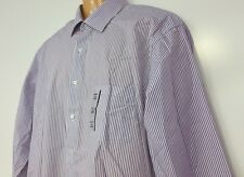 Van Heusen Men's Dress Shirt 17 1/2 34/35 Purple Striped Flip Cuffs Classic Fit