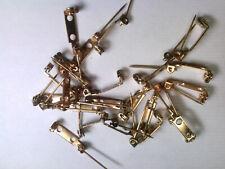 vtg 30 BRASS PIN BROOCH BACKS 14mm #121618y