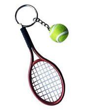 Grand porte-clés, bijoux de sac raquette rouge + balle de tennis.