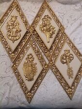 4 Diamond Shaped Resin Hollywood Regency Style Wall plaques, 1960's Dart Ind.