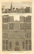 Cottingham, Northamptonshire, & Malling Abbey, Kent, 1798 Antique Print, RARE.
