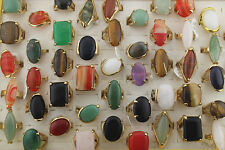 Job Mixed Lots 30pcs Natural stone Gold Plated Oversize Classic Women's Rings
