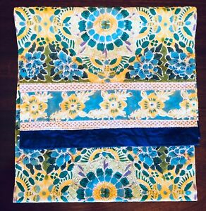 """Pottery Barn 100% Cotton Provence Table Runner 18"""" x 70"""" BLUE GREEN YELLOW"""