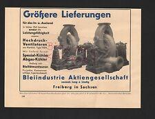 FREIBERG Sa., Werbung 1939, Bleiindustrie AG vorm. Jung & Lindig Ventilatoren
