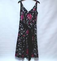 MONSOON 100% SILK Luxury Nip & Flare Multi Col Floral Dress Fully Lined UK 14