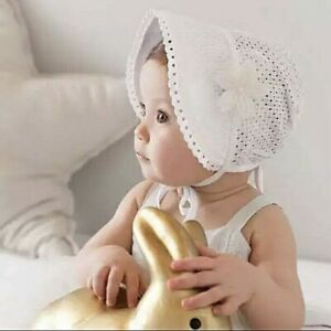 GIRLS -WHITE - EMBROIDERED  LACE - BONNET - SUNHAT- CHRISTENING