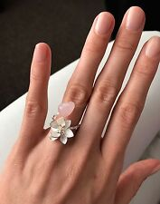 925 Sterling Silver Platinum Plated Natural Rose Pink Quartz Lotus Flower Ring