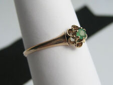Antique Women's Victorian era Solid 12K Gold & Emerald Buttercup Ring