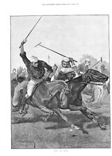 Polo in India - Great Horse Print - by R. Caton Woodville - 1893 Antique Print