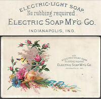 Electric Light Soap Indianapolis IN 1800's old Advertising Victorian Trade Card