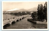 *Geneve Geneva Switzerland Pont du Mont Blanc Vintage Real Photo Postcard C92