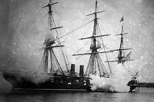 New 5x7 Civil War Navy Photo: Cannon Guns Firing from USS PENSACOLA Battle Ship