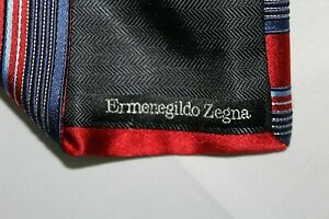 ERMENEGILDO ZEGNA Made in Italy Red Blue Striped RECENT Silk Tie