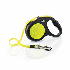Flexi New Neon Retractable Tape Dog Leash MEDIUM 16 ft TAPE Safety Plus